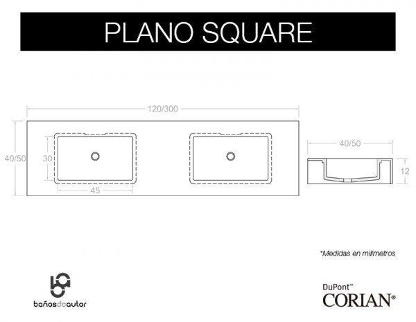 LAVABO DE CORIAN® SQUARE Plano