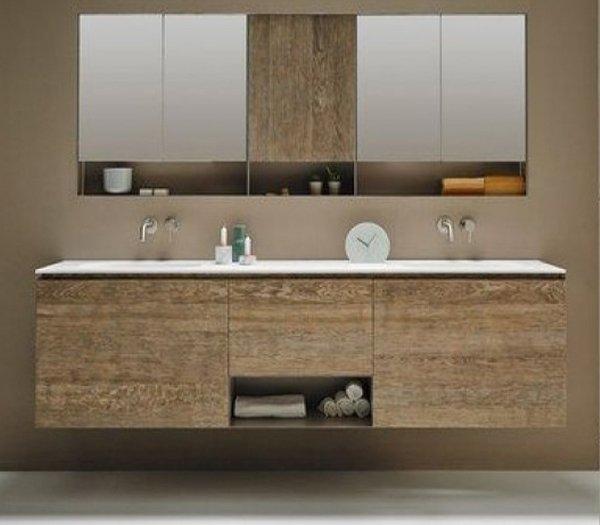 Mueble de Roble Macizo a medida con 3 cajones 1 Hueco + 2 Lavabos de diseño Corian®   537
