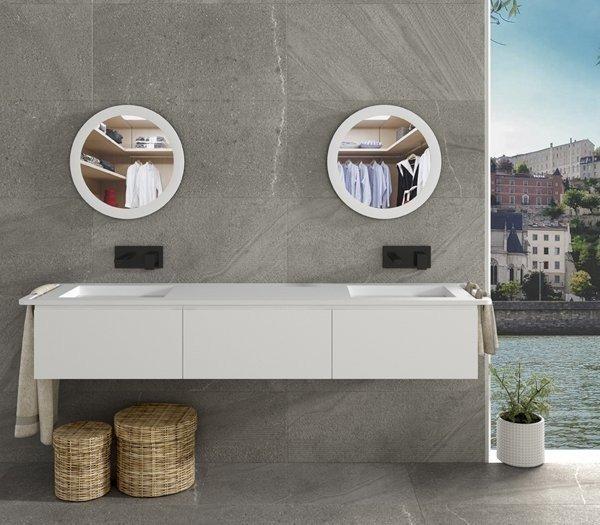 Mueble de baño doble a medida de MDF con 3 cajones Consecutivos + 2 Lavabos de diseño Corian® 563
