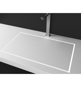 Lavabo de diseño Krion a Medida 1 Seno Loa Flat Square 40/60/80 Detalle