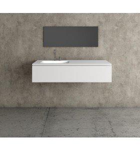 Mueble MDF de 1 Cajón + Encimera con 1 Lavabo Resina Desplazado | 4010
