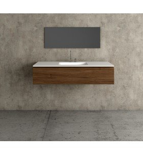 Mueble baño de Roble Macizo 1 Cajón + 1 Lavabo de Corian® 587