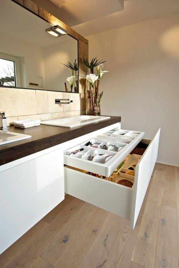 Mueble de MDF a medida con 2 Cajones Superpuestos + 2 Lavabos de diseño Corian® M583 Cajones