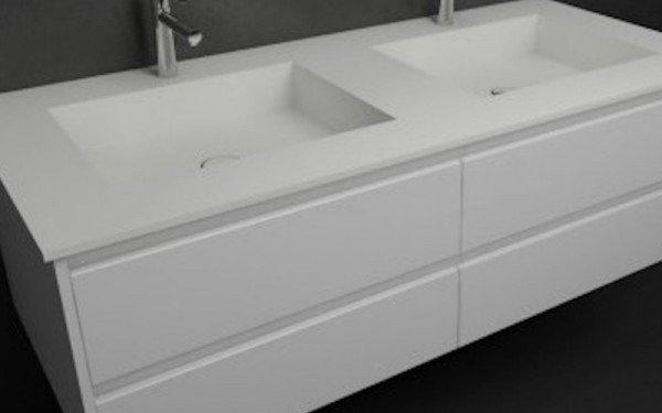 Mueble MDF 4 Cajones + 2 Lavabos de Resina Ejemplo