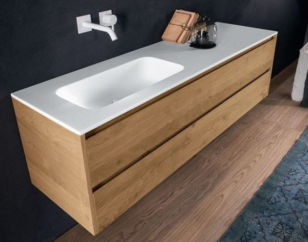 Mueble de ba o a medida con lavabo corian 502 ba os de autor - Muebles de lavabo a medida ...