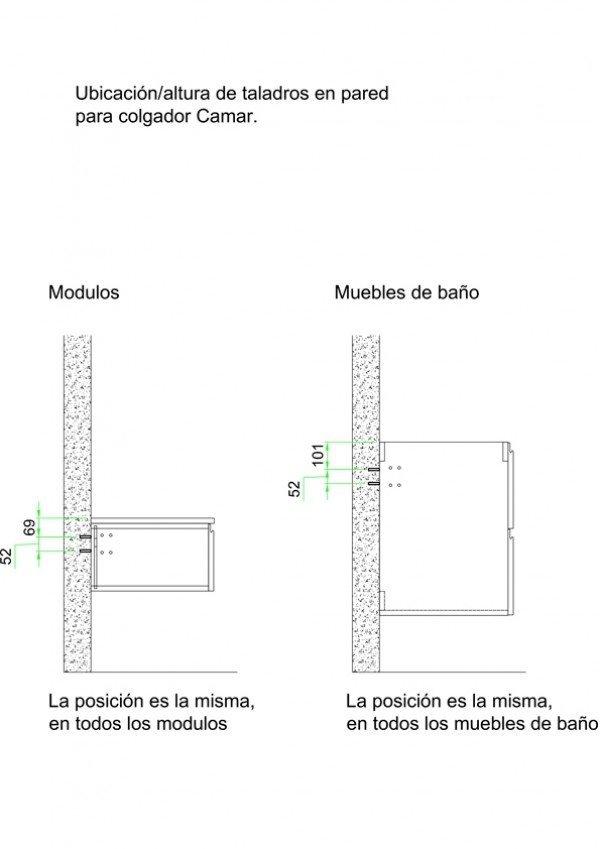 Mueble MDF a medida con 2 Cajones 3 Puertas + 1 Lavabo de diseño Corian® 507 Plano