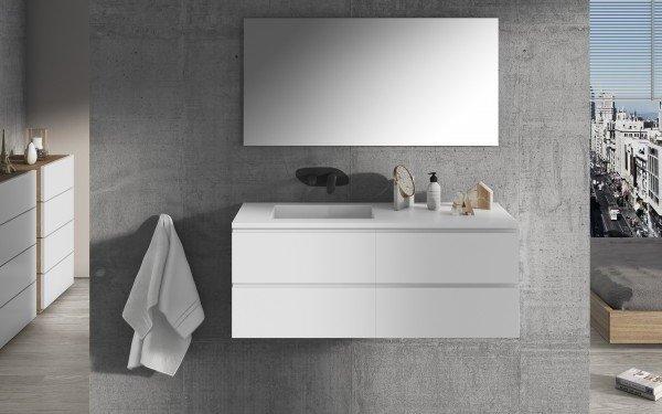 Mueble de MDF a Medida con 4 Cajones + 1 Lavabo de diseño Corian® M585 Ejemplo