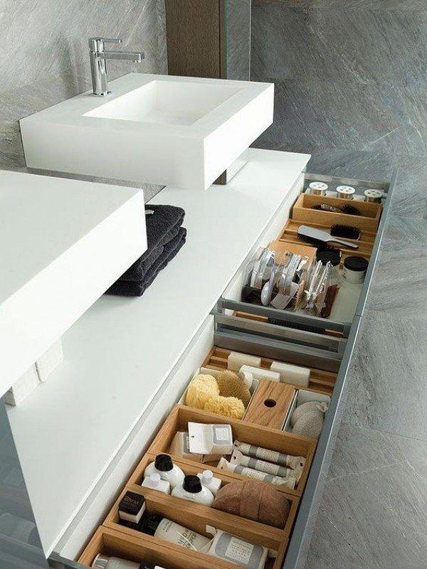 Mueble de Roble Natural a medida con 2 Cajones + 1 Lavabo de Corian® Cajones