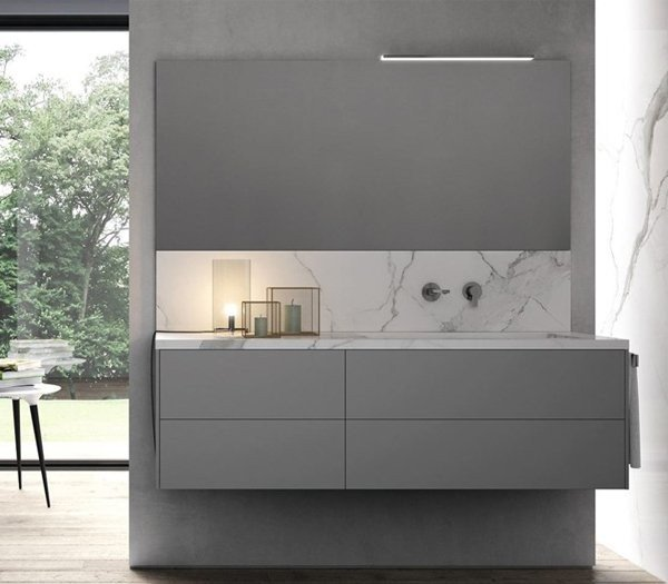 Mueble de MDF a medida con 4 cajones + 1 Lavabo de diseño Corian® Principal