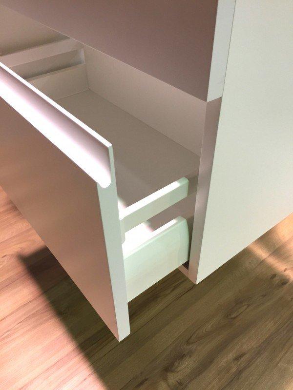 Mueble MDF de 2 Cajones + 1 Lavabo Resina Desplazado Cajones