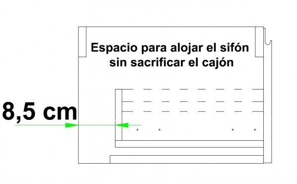 Mueble MDF de 2 Cajones + 1 Lavabo de Resina Desplazado Plano
