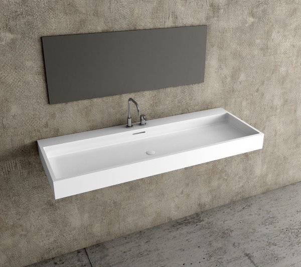 Lavabo seno gran formato solid surface mineral lavabos - Lavabos dos senos ...