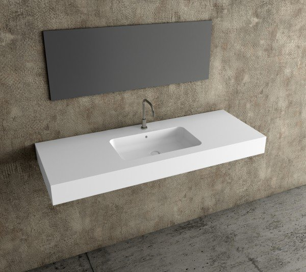Encimera resina mineral solid lavabo centrado ba os de - Lavabos de resina ...
