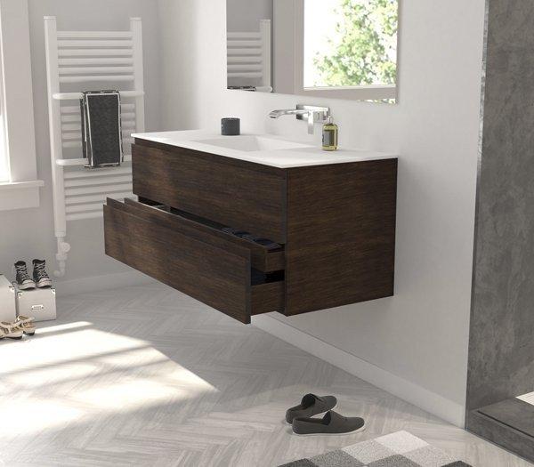 Mueble Roble Macizo con lavabo Corian Ejemplo