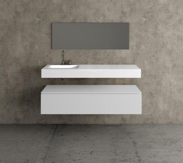 Mueble ba o con lavabo de resina solid surface 4001 - Mueble de resina para exterior ...