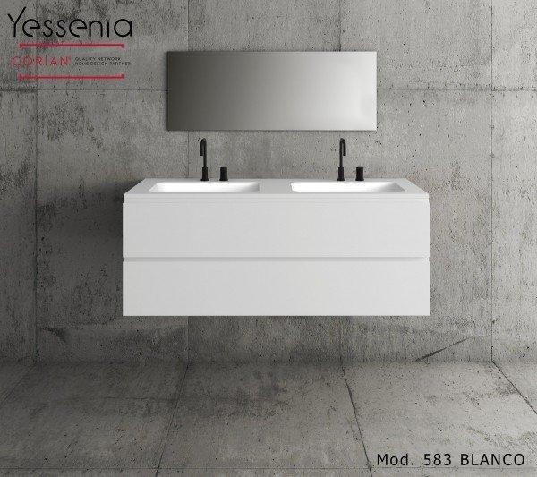 Mueble de MDF a medida con 2 Cajones Superpuestos + 2 Lavabos de diseño Corian® M583 Principal