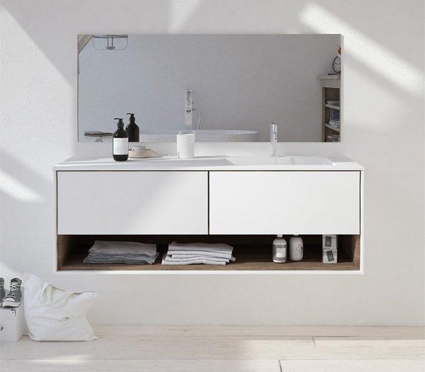 Mueble de MDF a Medida con 3 Cajones + 1 Lavabo desplazado de diseño Corian®506