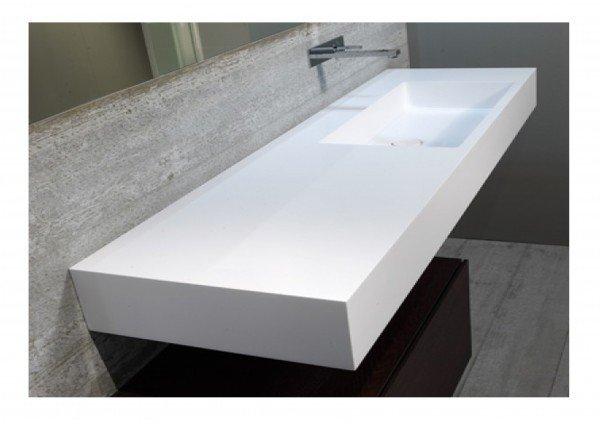 Encimera resina mineral solid con lavabo desplazado - Lavabos de resina ...