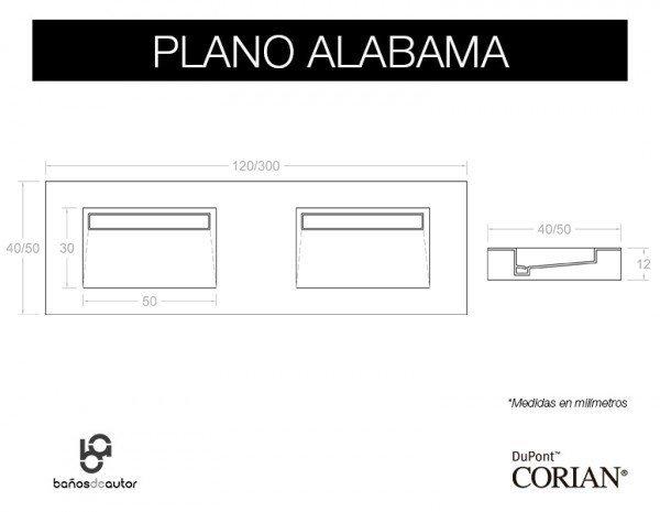 LAVABO DE CORIAN® ALABAMA Plano