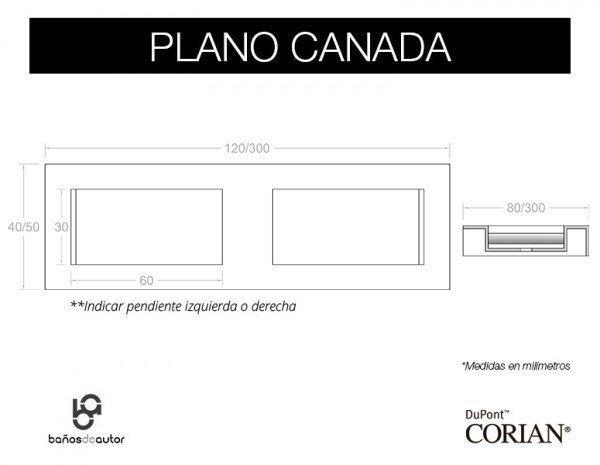 LAVABO DE CORIAN® CANADA PLANO