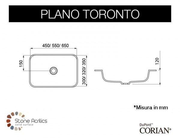 Lavabo Corian® Toronto + Mueble MDF + Estructura Metálica Plano