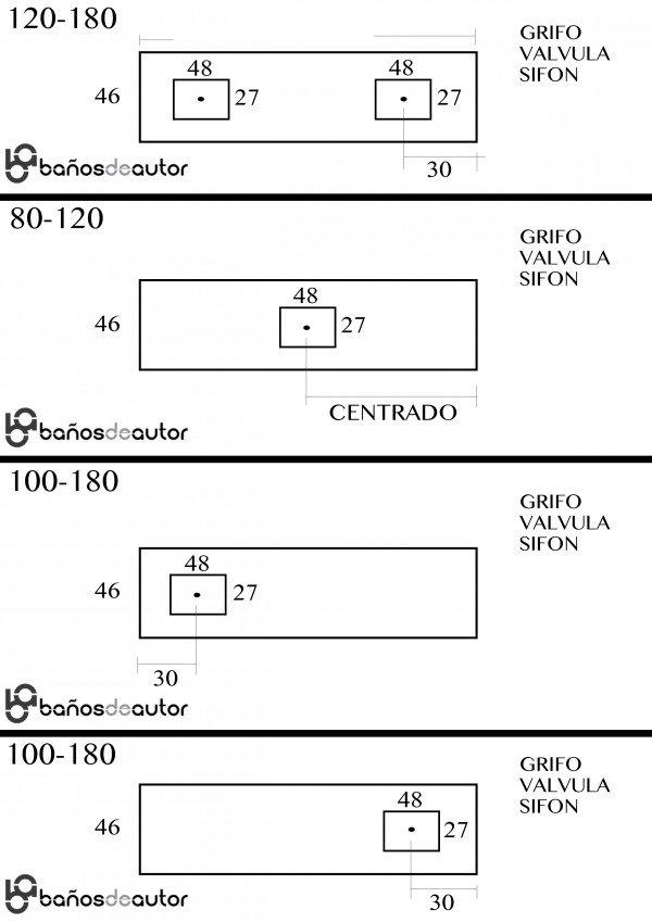 Mueble MDF de 2 Cajones + 1 Lavabo Resina Centrado 4002 Plano