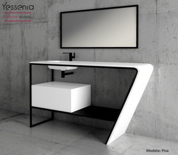 Lavabo Corian® Toronto + Mueble MDF + Estructura Metálica Principal