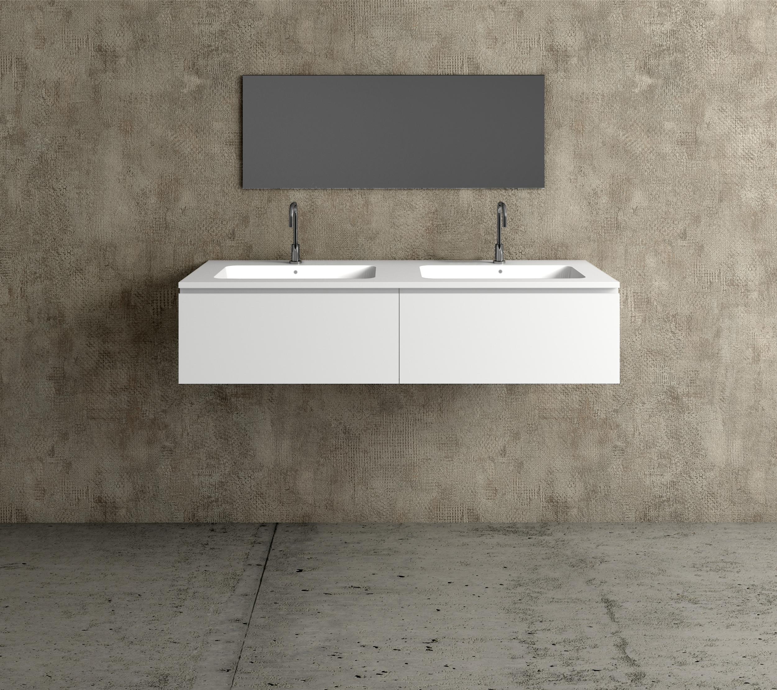 Mueble De Mdf A Medida Con 2 Cajones Consecutivos 2 Lavabos De Diseño Corian M505